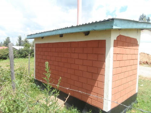 Side view of the latrine