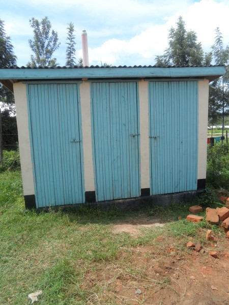 Front view. One is a washroom. The Bryce latrines will have two doors, not three.