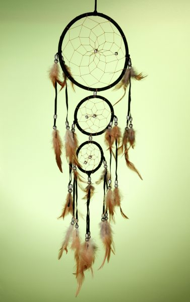 Beautiful dream catcher on green background