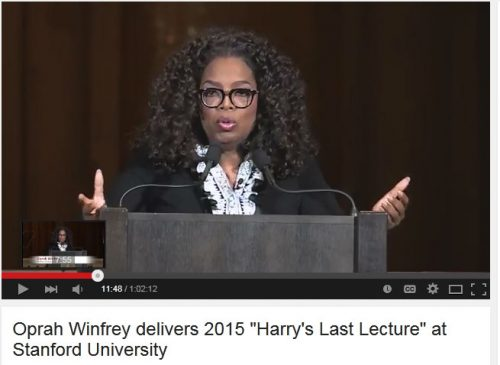 Oprah Winfrey at Stanford in 2015 - clip from YouTube video; used according to the US Fair Use Act