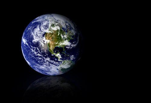 earth globe over black