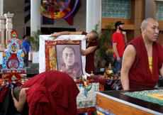 Tibetan monks set up an altar in preparation for the Parliament of the World's Religions at the Salt Palace Convention Center in Salt Lake City on Wednesday, Oct. 14, 2015. (Photo: Laura Seitz, Deseret News)