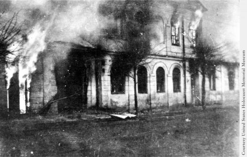 Burning synagogue - Photo from Trapped in Hitler's Hell by Anita Dittman - US Holocaust Museum - Used with permission