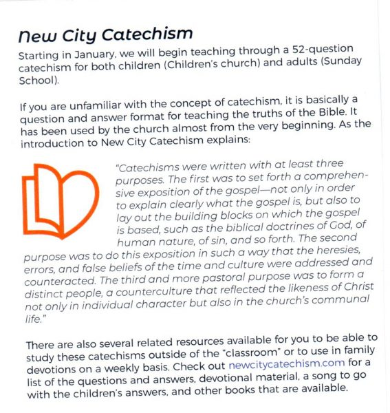 Letter To The Editor Is New City Catechism By Gospel